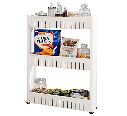 G4RCE 0B-HTJW-5KJ0I Slim Slide Out Kitchen Trolley Storage Shelf Organizer Moving Wall Cabinets Tower Holder Rack on Wheels 3 4 Tier, White / Rolling Pantry Storage