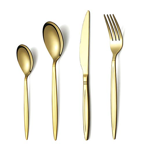 Berglander Set Di Posate In Titanio Placcato Oro 24 Pezzi, Set Di Posate Dorate In Acciaio Inossidabile Per 6