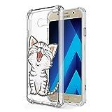Zhuofan Plus Coque Samsung Galaxy A5 2017, Silicone Transparente avec Motif Design Antichoc Coussin d'air Housse TPU Souple Airbag...