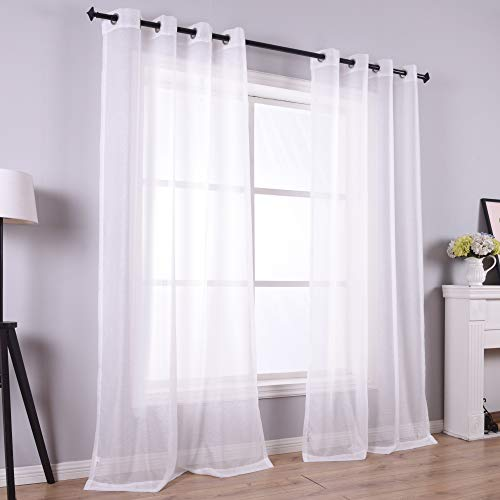 108 Inch Sheer Curtains for Living Room Bedroom Apartment Window 2 Panels Grommet Voile Drape Semi Sheer Curtain for Wedding Baby Shower Party Backdrop Outdoor White Wide 52 Length 9ft 9 ft Extra Long