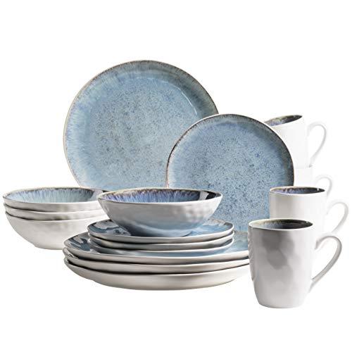 MÄSER 931857 Serie Frozen - Vajilla de cerámica para 4 personas (16 piezas, cerámica), color azul