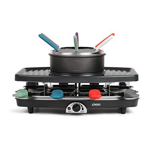 LIVOO DOC233 Raclette-/Grill-/Fondue-Gerät | 8 Pfannen + 6 Gabeln inkl.