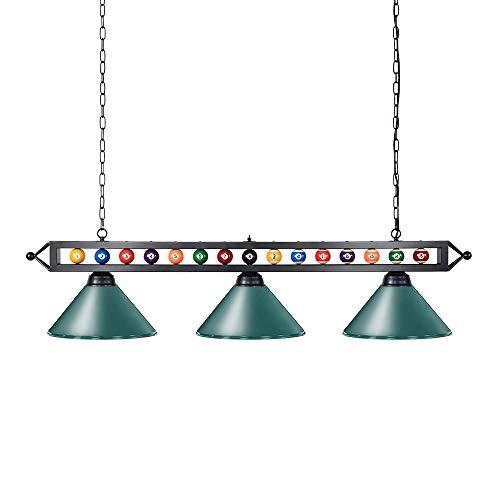 Wellmet Chende Lámpara Colgante de Piscina de Estilo Industrial Americano Vintage – 3 Lámparas de Techo de Piscina de Hierro(Verde)