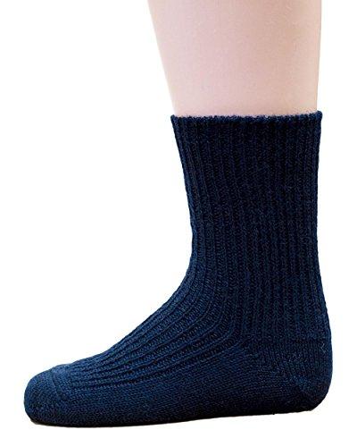 Hirsch Natur Grobstrick Socken, Strümpfe für Baby´s und Kinder aus 100% BIO Schurwolle (kbT) (25-26, Marine)