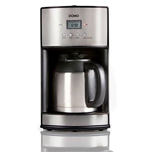 Kaffeemaschine 1,2L mit 24h Timer für 10 Tassen Kaffee Domo DO474K schwarz-silber