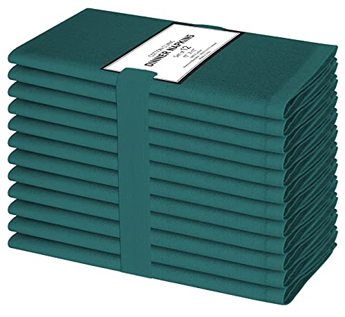 Cotton Clinic Cloth Dinner Napkins – Perfect Everyday Use Table Linen – Soft Durable Washable – Ideal for Party Wedding Farmhouse Christmas Easter – Set of 12 (17x17 in/Teal Green)