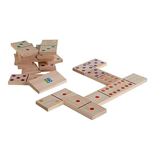BS Toys-Domino Juego de Madera con 28 Piezas Gigantes, Color (Multi Colored) (BuitenSpeel B.V. GA278)