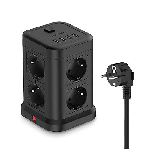 JSVER Regleta Enchufe Vertical con USB,8 Tomas con 4 USB Puertos(5V,4.8A) Enchufe...