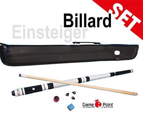 GamePoint Billard - Sparset: Pool Queue WinEver inkl. Tasche, Kreide, Trimmer und Ersatzschraubleder, 3-tlg. mit ca. 12mm Schraubleder