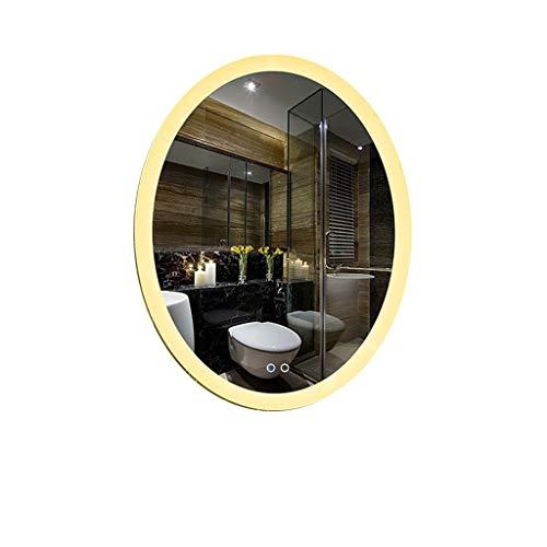 Hfyo Badkamerspiegel met ledverlichting, wandmontage, touch-schakelaar, anti-condensfunctie, dimbaar, make-up spiegel
