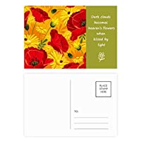キャンバスの花の植物画ヒナゲシ 詩のポストカードセットサンクスカード郵送側20個