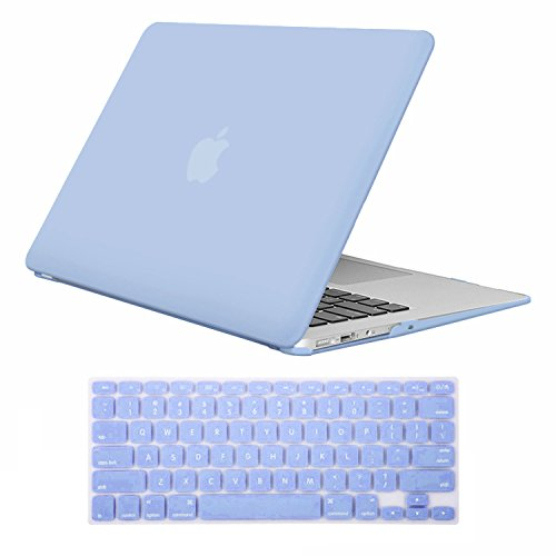 MacBook Air 13 Zoll Hulle iCasso Rubber Coated Soft Touch Hard Case mit Tastaturabdeckung MacBook Air 13 Zoll Modell A1369A1466 Serenity Blue