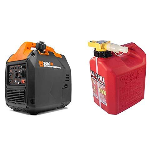 WEN 56203i Super Quiet 2000-Watt Portable Inverter Generator w/Fuel Shut Off, CARB Compliant, Ultra Lightweight & No-Spill 1405 2-1/2-Gallon Poly Gas Can