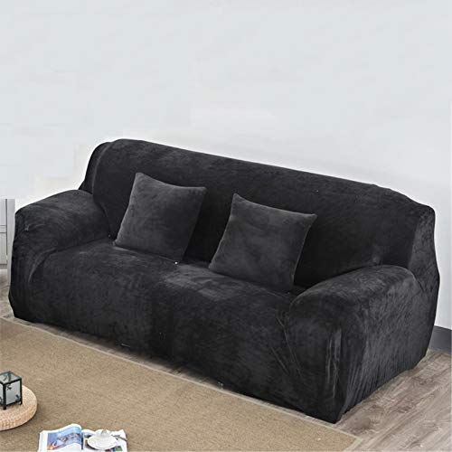 YPSM Plush Stretch Sofa Slipcover,Universal Washable Thick Couch Protector for 2 3 4 Cushion Couch,Solid Color Soft Non Slip Sofa Cover-Black 93-118''/235-300cm