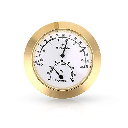 MeterMall Beste voor Smart voor 1.7inch Ronde Thermometer Hygrometer Vochtigheid Temperatuur Meting voor Violin Guitar Case Instrument Care Monitoring Meter Tool Goud