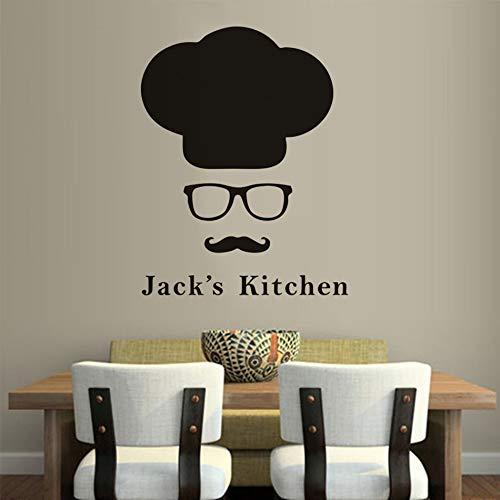 Chef hat vinilo etiqueta de la pared bigote hombre vidrio patrón arte de la pared calcomanías cocina restaurante decoración nombre personalizado cocina decoración mural A5 57x74cm