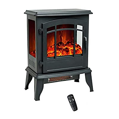FLAME&SHADE 23 inch Electric Fireplace Wood Stove, Portable Freestanding Indoor Space Heater with Remote & Timer, 1400w