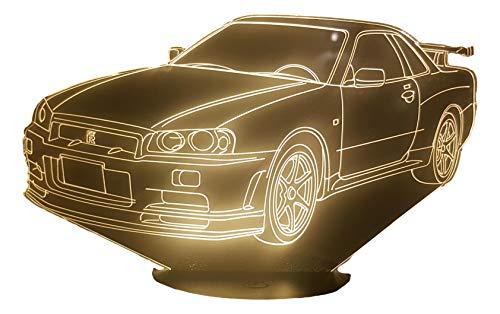 NIS. GTR R34, Lampada illusione 3D con LED - 7 colori.