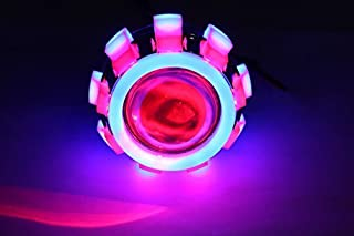 AllExtreme Original Projector Lamp High Intensity Led headlight Lens projector (High beam, Low Beam,Flasher function) For - All Bikes (Blue Red Blue)