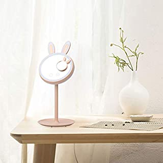 CREASHINE LED Lighted Makeup Mirror, 2 in 1 Rabbit-Shaped Folding Vanity Mirror with Table Lamp,Touch Screen Dimming,Magne...