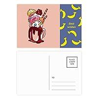 チョコレート・ビスケット・ドーナツカップアイスクリーム バナナのポストカードセットサンクスカード郵送側20個