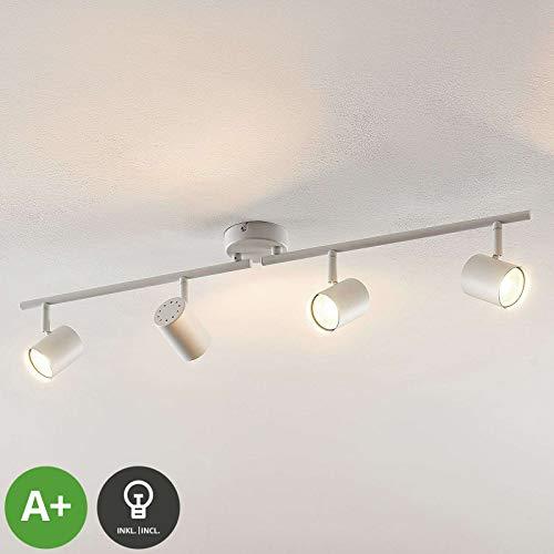 ELC LED Deckenlampe weiss, schwenkbar & drehbar, 4 flammig, inkl. 4 x 5W GU10 LED Leuchtmittel, LED Deckenleuchte, Deckenstrahler warmweiss, Metall, Deckenspot, Spot, Strahler