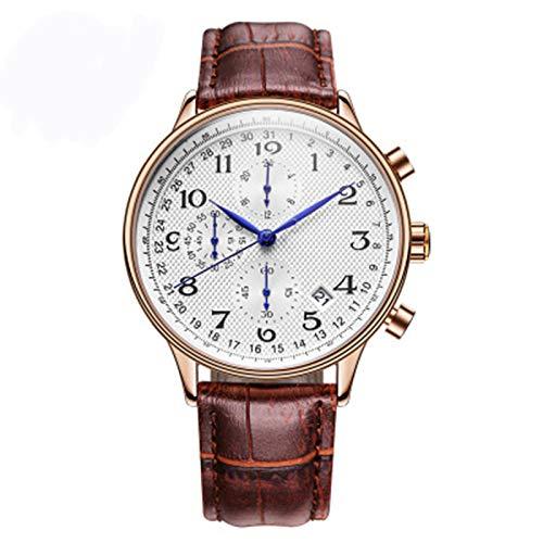 ZTT Top Luxusmarken-Mann-Geschäft Rose Uhren Chronograph Wasserdicht Quarz-Analoge Armbanduhr Male Uhr,D