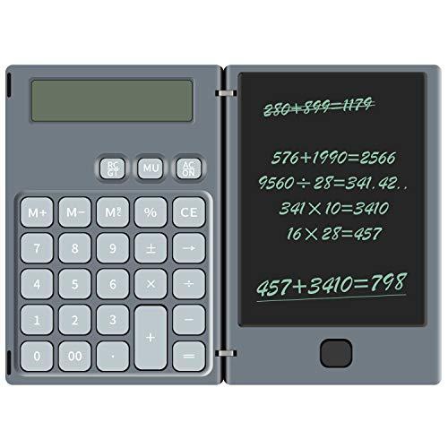 NEWYES Calculadora Básica y Tableta de Escritura LCD 2 en 1 para Calcular y Tomar Notas, 6 Pulgadas - -Gris