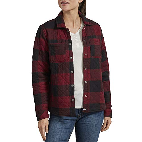 Dickies Women's Quilted Flannel Shirt Jacket, Black/Red Heather Buffalo, Small