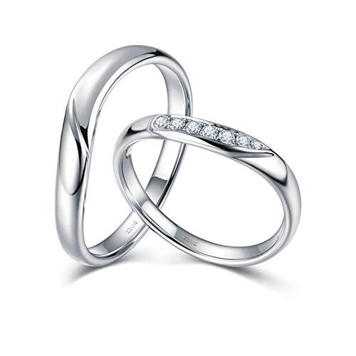 ANAZOZ Echtschmuck 2 stück Paarring 18k 750 Weißgold Poliert filigran Verlobungring Eheringe Trauringe Hochzeitsringe Brilliant Solitär-Ring Weiß 0.065ct Diamant Damen: 54 (17.2) & Herren: 61 (19.4)