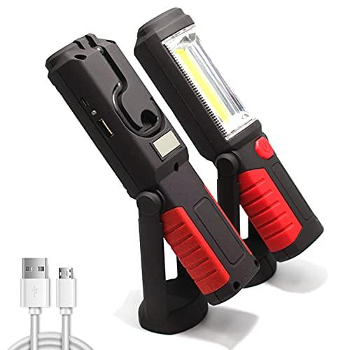 WOERD Linterna de Trabajo, LED Lámpara de Inspección Recargable, Portátil Linterna Taller COB Luz con Magnético Soporte y Gancho Colgante para Automóviles Taller Emergencia Camping