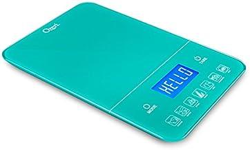 Ozeri Touch III Báscula digital de cocina con contador de calorías, en vidrio templado, 10 kg, Color Teal Blue