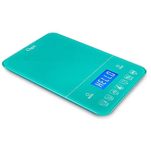 Ozeri Touch III 22 lb (10 kg) Digital Kitchen Scale with Calorie Counter in Tempered Glass, Teal Blue
