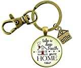 Gutsy Goodness New Home Keychain Take a Deep Breath First House Apartment Men Women Gift Idea From Realtor