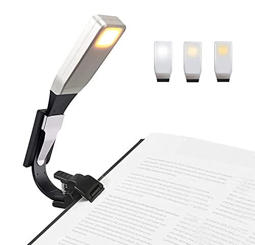 EasyULT Libro Luz LED Lampara de Lectura USB Recargable, Luz de Lectura de Clip de Brillo de 3 Niveles, 360 ° Flexible Portátil, para Lectores Noche, Libro, etc-Negro