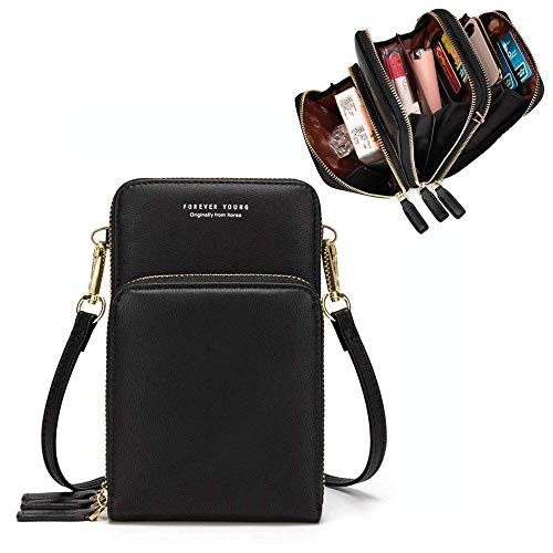 Handtasche Damen Umhängetasche Handytasche Zum Umhängen Geldbörse Portemonnaie mit Vielen Fächern Kartenfach - Verstellbare Schultergurte