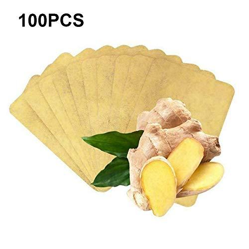 Detox-Pflaster für pflanzliche Ingwer, 100 % natürliche Bio-Kräuter-Fußpflaster, kann die Durchblutung fördern und den Schlaf verbessern, Gelenkschmerzen, Körpergifte entfernen (100 Stück)