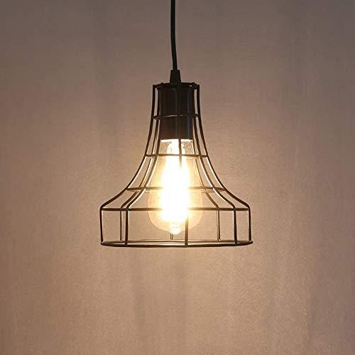XINYANSEE Lámparas de araña Forma Jaula Metal Vintage Iluminación de Techo Ajustable Estilo Loft Industrial Retro -Negro (E)