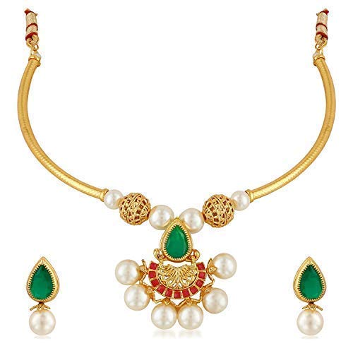 Aheli Elegant Necklace Earrings Indian Wedding Traditional Fashion Jewelry for Women