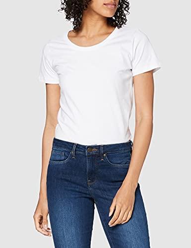 Berydale Camiseta de manga corta de mujer, con cuello redondo, pack de 3, Blanco, M