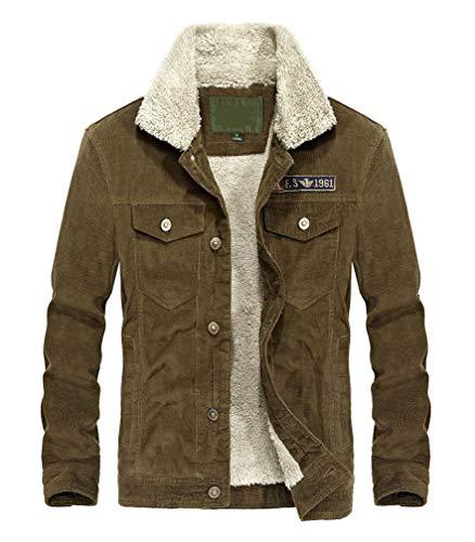Lavnis Men's Corduroy Trucker Jacket Casual Stand Collar Button Down Fleece Denim Jacket Khaki L