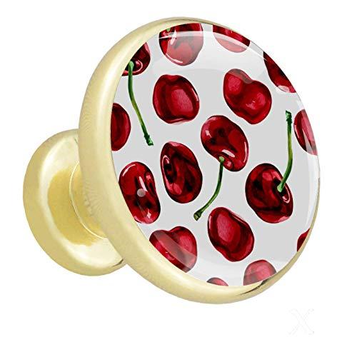 Pomos Para Armario cereza 4x estilo magnífico gabinete de Redondo perillas tire manijas para muebles armario cajón armario cocina baño 32mm (Dorado)