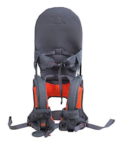 MINIMEIS G4 - Weltweit 1. Baby Schultertrage mit Rückenunterstützung - [6 Monate - 5 Jahre & bis zu 18kg] - Grau/Orange