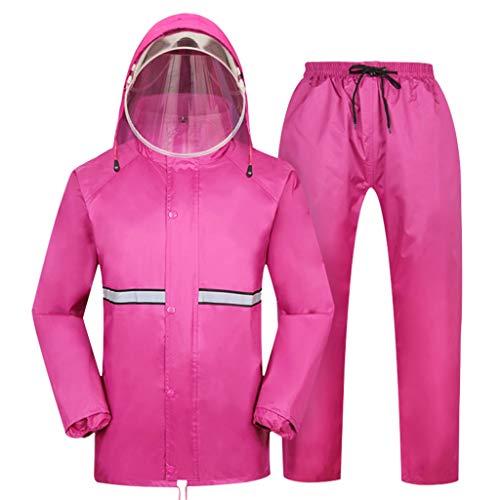 QDY-Rain Suit Chubasquero Impermeable Reflectante con Capucha Impermeable Reutilizable Impermeable Chamarra de Lluvia Unisex para Motocicleta, equitación, Golf, Pesca, Actividades al Aire Libre