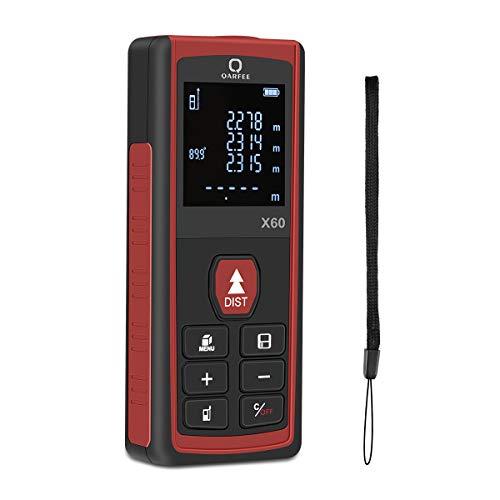 Qarfee 60M Digitaler Laser Entfernungsmesser, Laser Messgerät Distanzmesser und LCD-Hintergrundbeleuchtung, Entfernungsmesser mit 2 Level Blasen Messeinheit m/in/ft,IP54,2 x 1.5 V AAA-Batterie (60M)