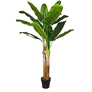 Artificial Bird of Paradise Tree – Faux Tropical Banana 70 Inch Potted Plant for House Decoration