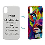WIILGN 10 Pack Blank 3D Sublimation Phone Case Hard Printable Heat Press Transfer Blanks Compatible with iPhone 6/7/8 Plus/X/Xs/Xr/11 Pro Max Back Cover A Lot Matt