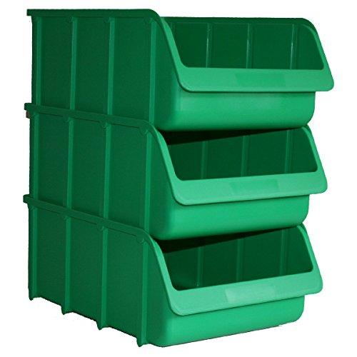 3 Profi Lager-Sichtboxen PP Größe 5 in Farbe Grün