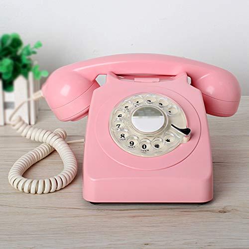 GERUOLA Teléfono Retro Vintage,Cable Teléfono Antiguos,Hogar Dial Giratorio Teléfono Fijo,Teléfono De Diseño Antiguo Elegante,Volver A Marcar,Tonos De Llamada Duales Ajustables,Rosado