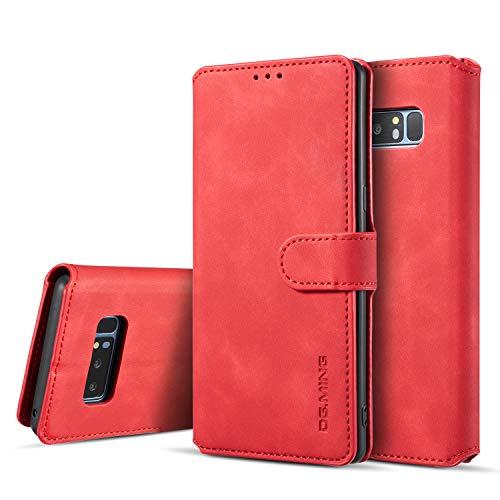 UEEBAI Handyhülle für Samsung Galaxy Note 8, Hülle Retro Premium PU Leder Weich TPU Klapphülle [Magnetverschluss] Kartenfach Standfunktion Anti Kratzern Flip Wallet Trageband Schutzhülle - Rot